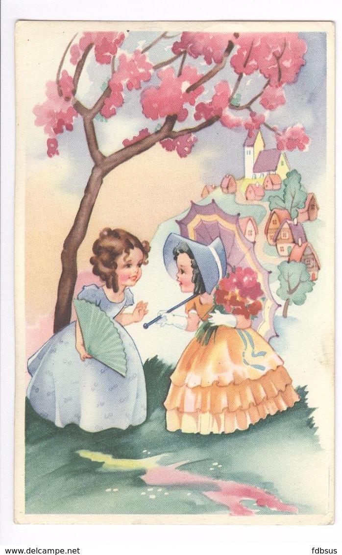 1948 - COLOPRINT SPECIAL 2091/1 -  PETITE FILLES - KLEINE MEISJES MET PARAPLU -  TRES BELLE CARTE - ZEER MOOIE KAART - Fancy Cards