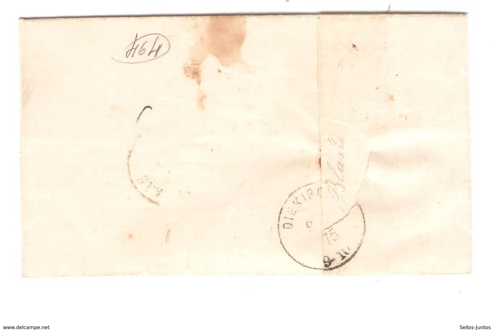 TP 30 S/LAC C.Blandain 7/10/1875 Griffe T 0,10 En Manuel V.Gd Duché De Luxembourg Diekirch Taxé 30 JS147 - 1869-1883 Leopold II