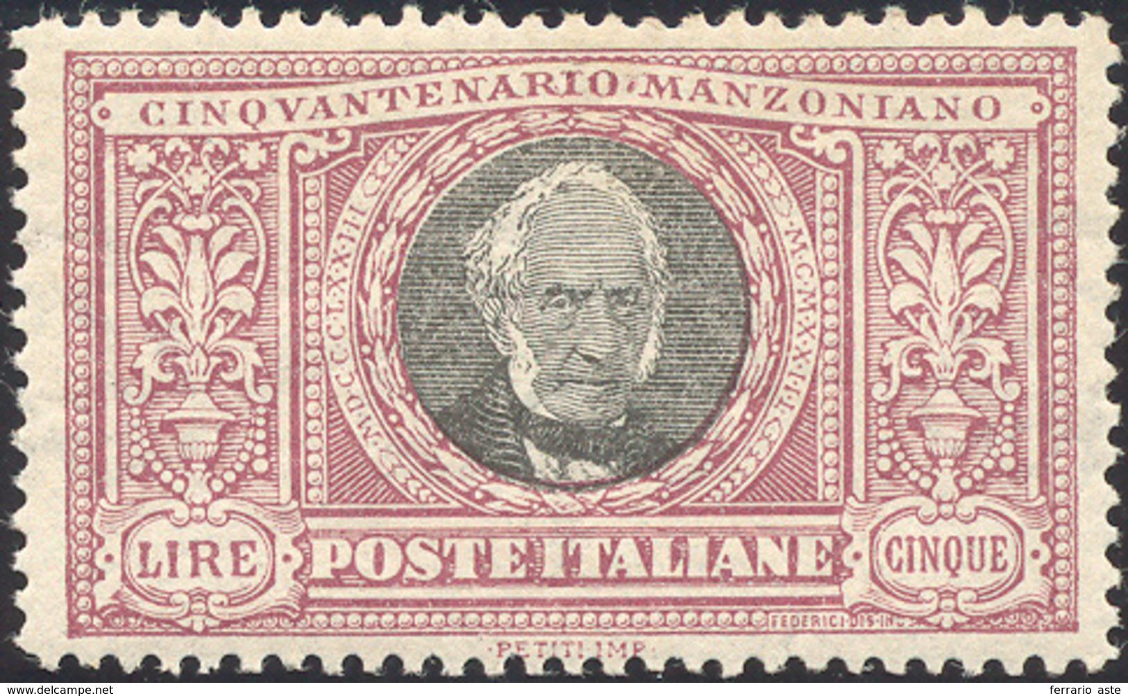 1502 1923 - 5 Lire Manzoni, Dentellatura Lineare (156c), Ottima Centratura, Gomma Originale Integra, Perf... - Italië