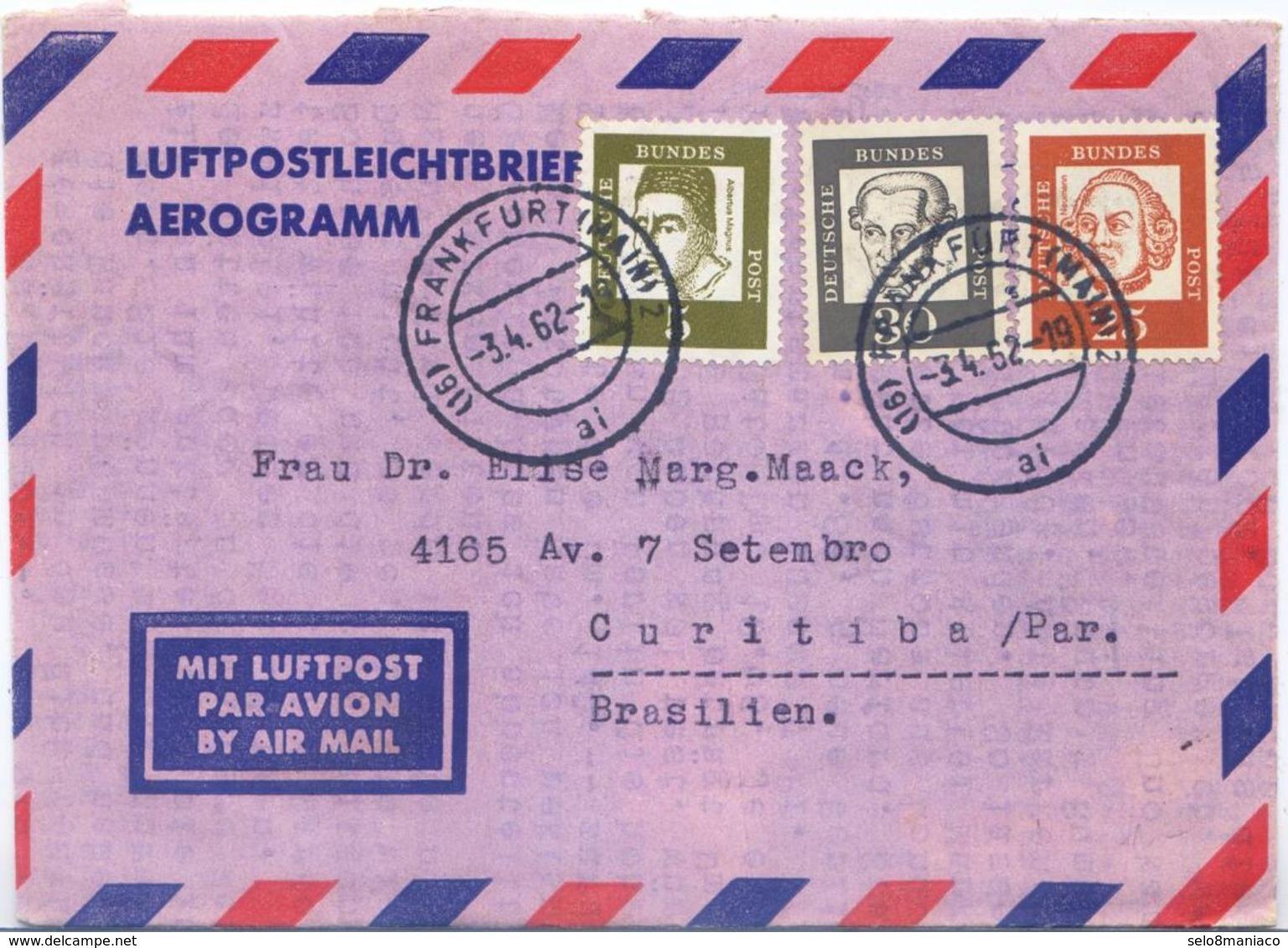 C2498-Germany-Aerogramme From Frankfurt To Curitiba, Brazil-1962 - [7] Federal Republic