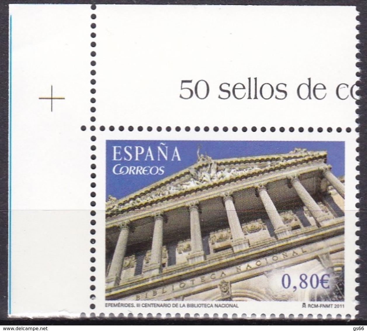 2011,  Spanien, 4650, Nationalbibliothek, Biblioteca Nacional, MNH ** - 1931-Hoy: 2ª República - ... Juan Carlos I