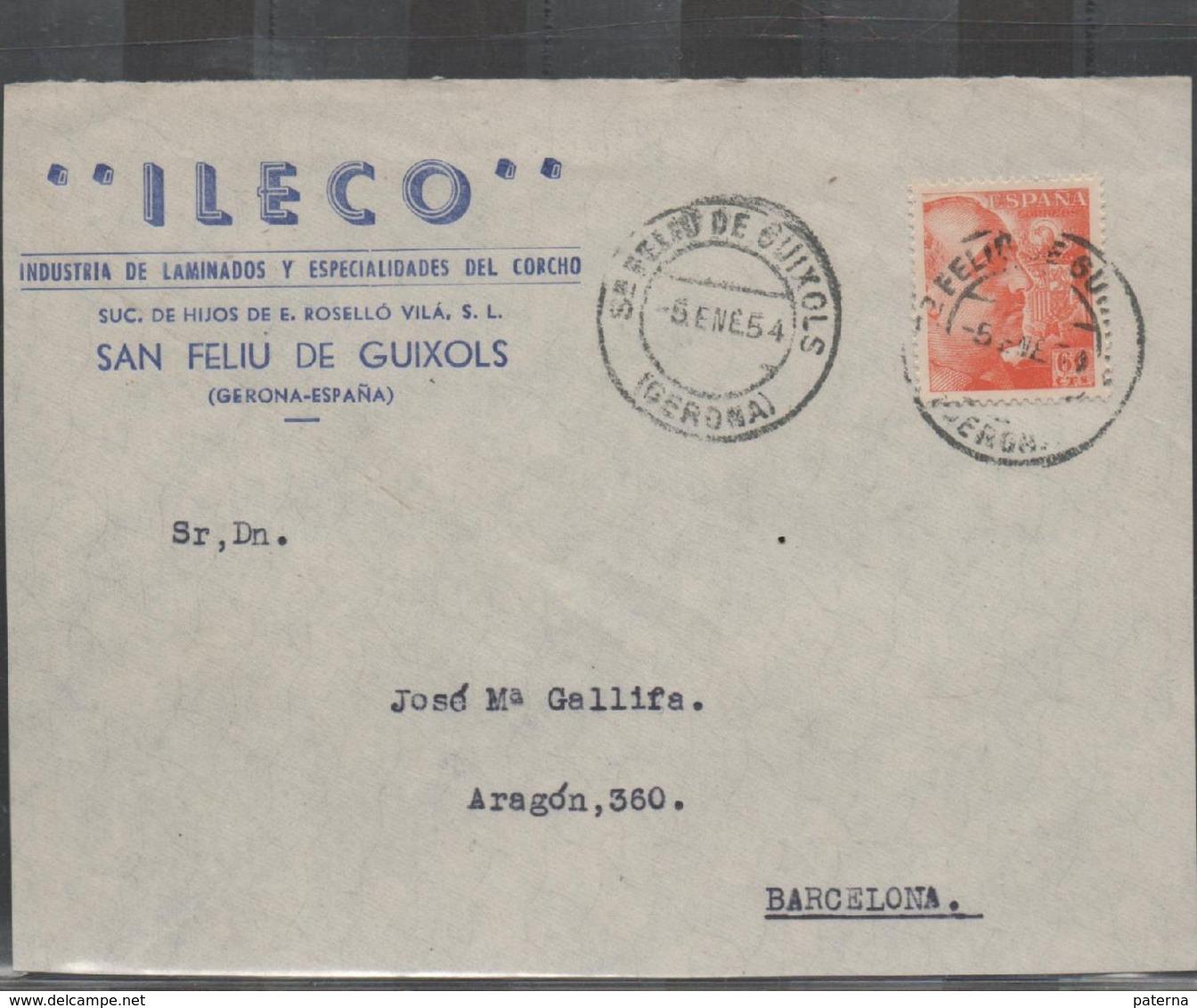 3268  Frontal De Carta San Feliu De Guixols 1954 , Gerona , Girona - 1931-Today: 2nd Rep - ... Juan Carlos I