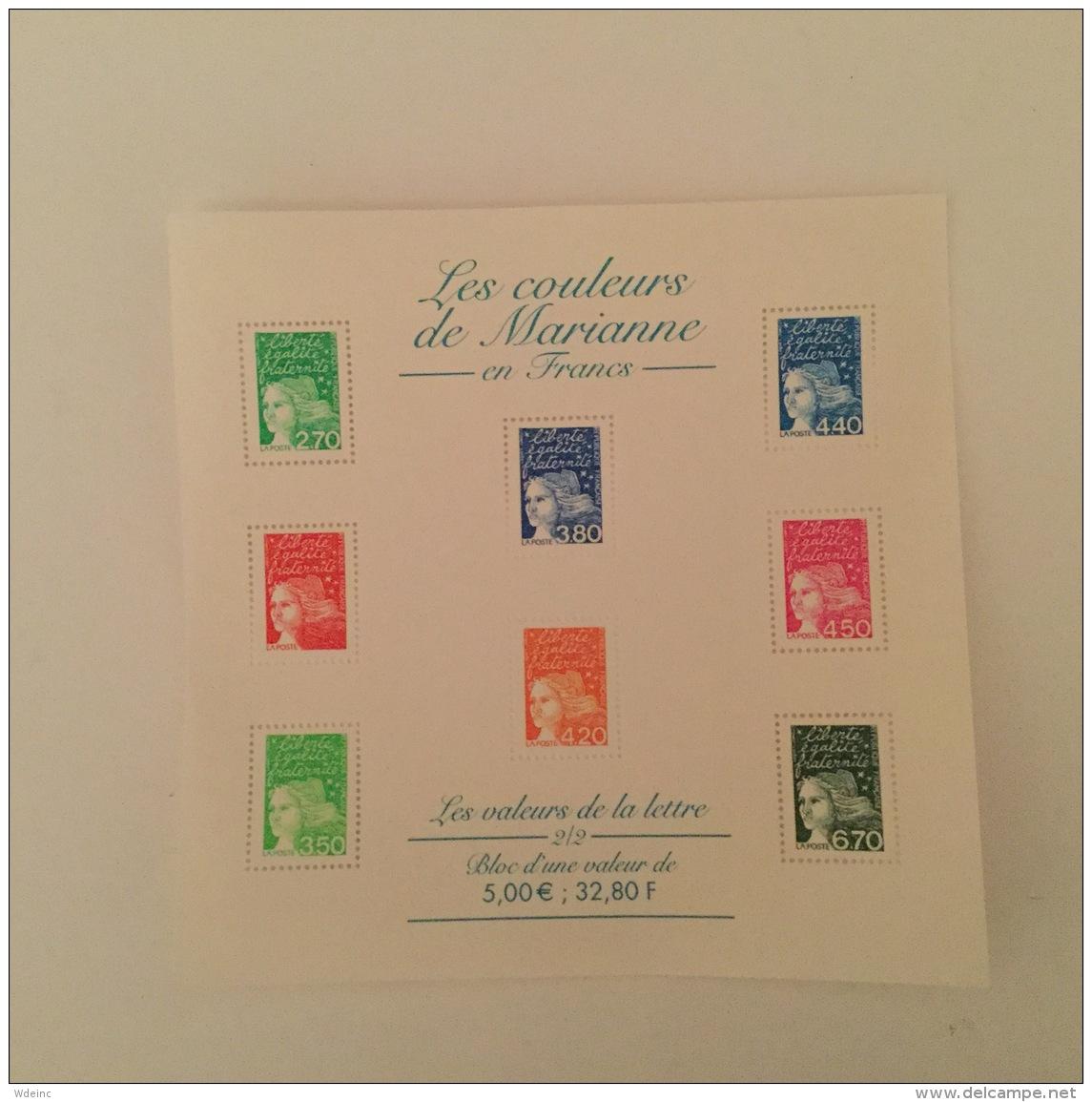 FRANCE 2001 Les Couleurs De Marianne En Francs Feuillet-M/S Superbe-MUH Yv42 - Blocs Souvenir