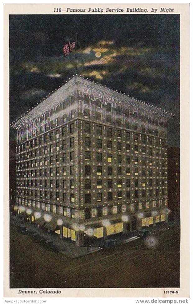 Colorado Denver Public Service Building By Night 1950
