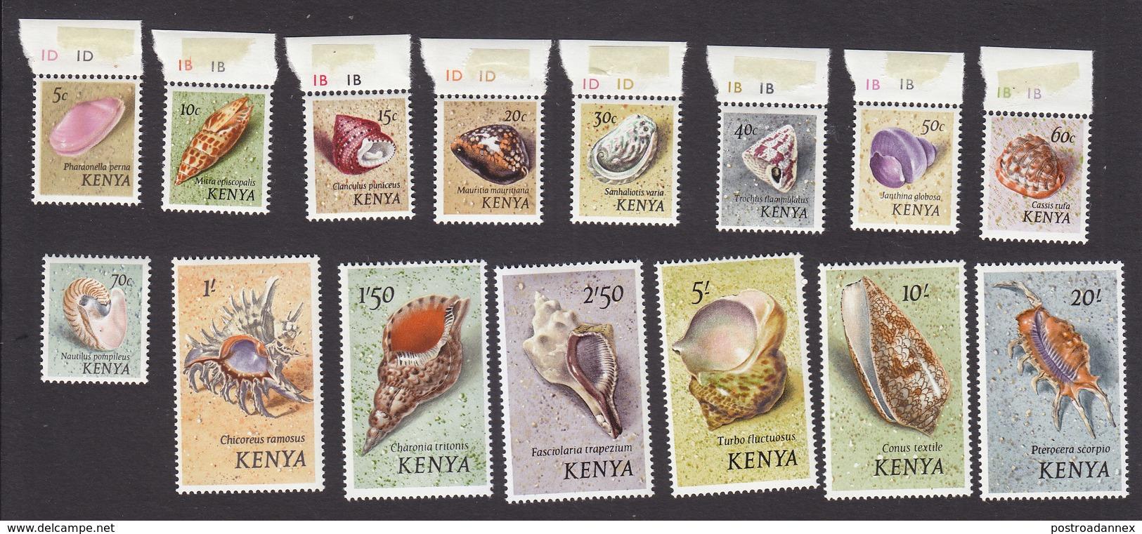 Kenya, Scott #36-50, Mint Hinged, Shells, Issued 1971 - Kenya (1963-...)
