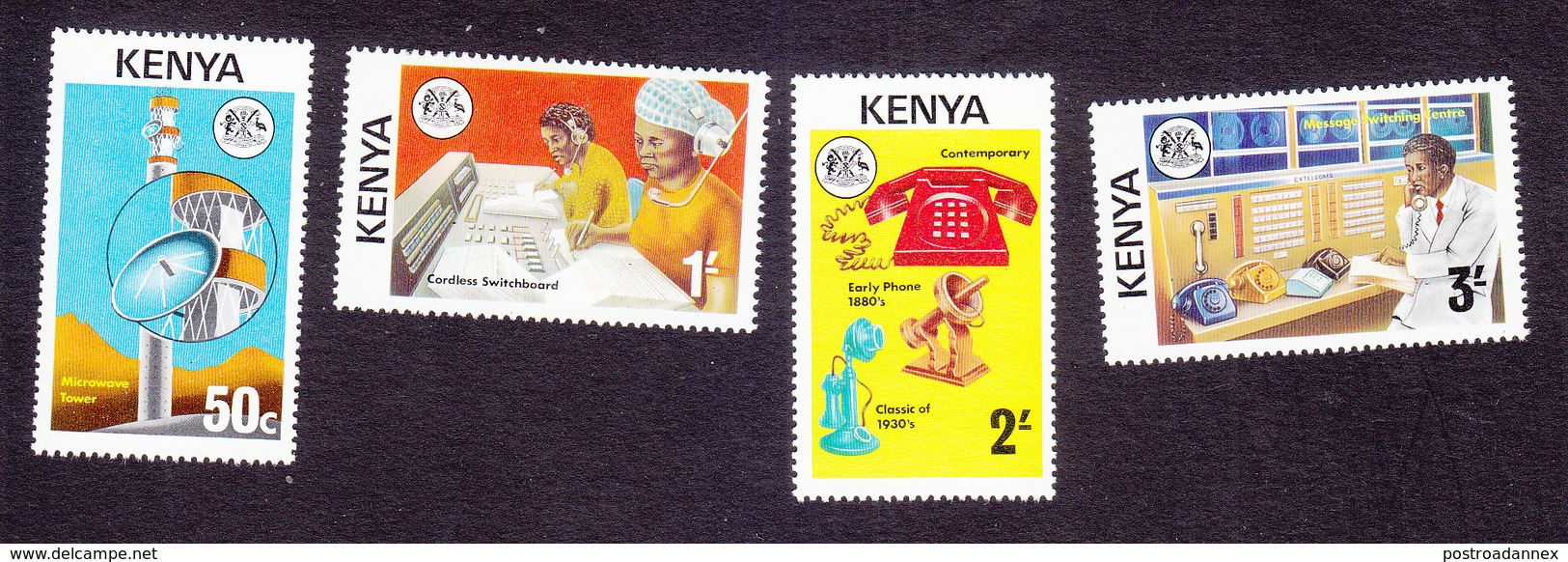 Kenya, Scott #56-59, Mint Hinged, Telecommunications, Issued 1976 - Kenya (1963-...)