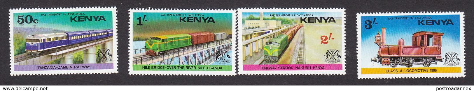 Kenya, Scott #64-67, Mint Hinged, Trains, Issued 1976 - Kenia (1963-...)