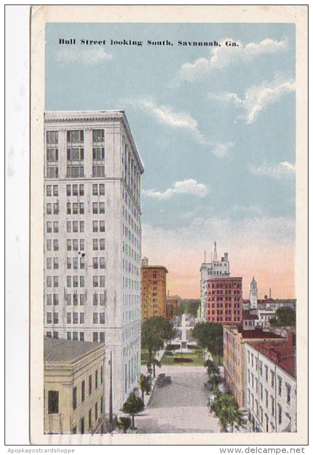 Georgia Savannah Bull Street Looking South 1916