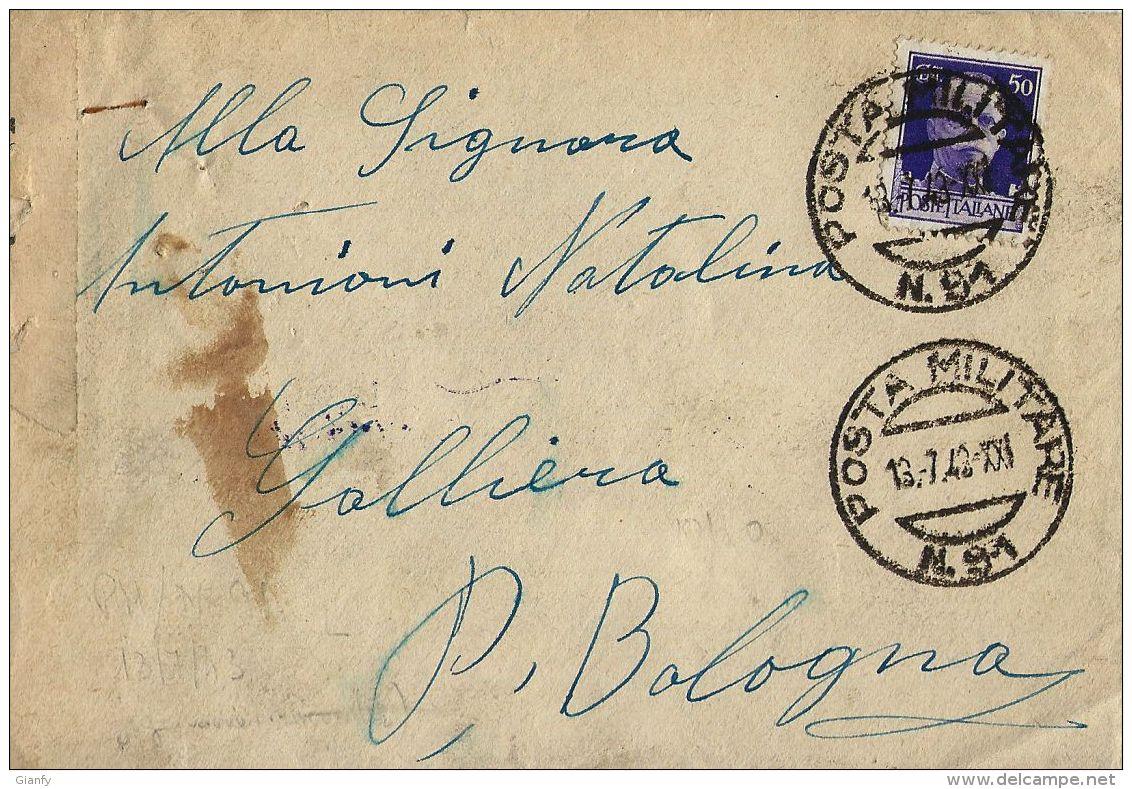 BUSTA POSTA MILITARE 91 1942 CASTELNUOVO CATTARO MONTENEGRO X GALLIERA - Military Mail (PM)