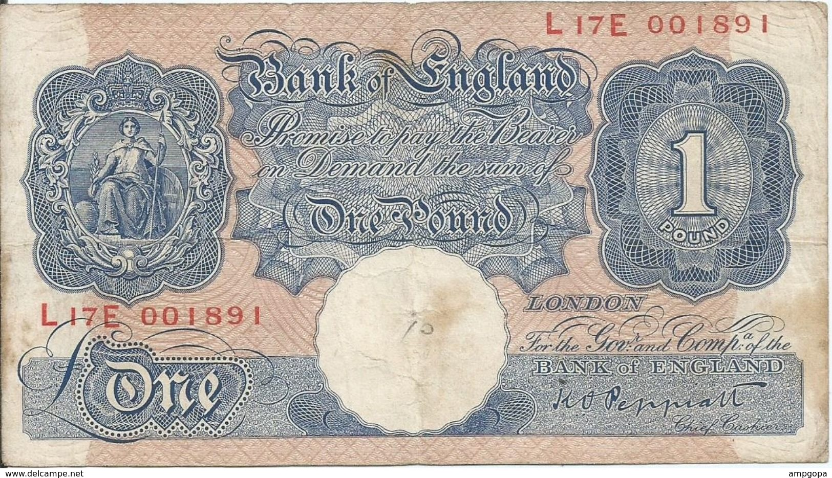 Gran Bretaña - Great Britain 1 Pound 1940 Pk 367 A Firma Peppiatt Ref 891-2 - 1 Pound