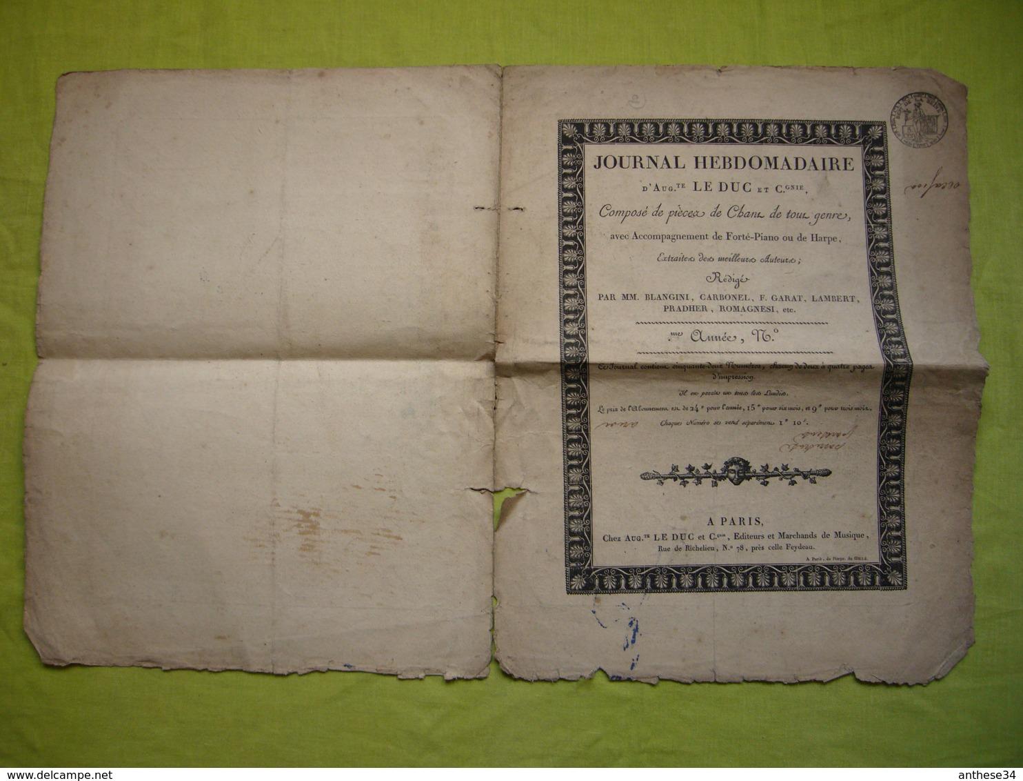 Partition 19 ème Journal Hebdomadaire D'Auguste Le DucLa Sentinelle De M Brault - Partitions Musicales Anciennes