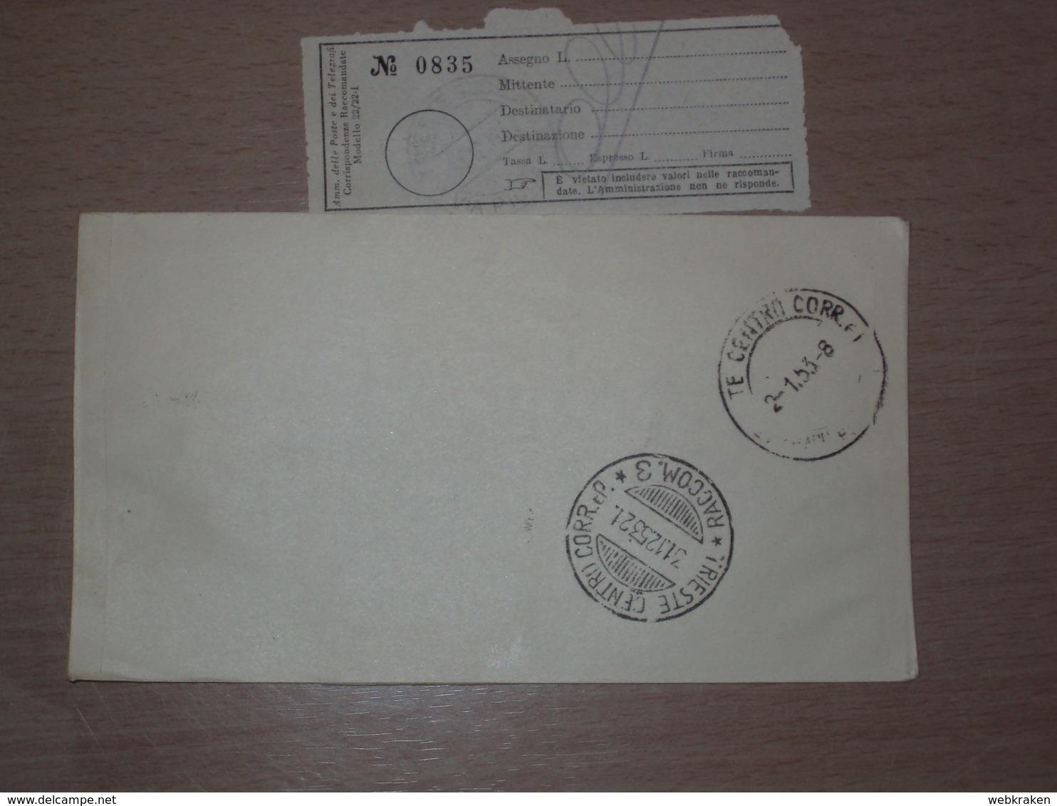 TRIESTE AMG-FTT AMG FTT ITALIA BUSTA PRIMO GIORNO FDC F.D.C. RACCOMANDATA REALMENTE VIAGGIATA 1952 LEONARDO DA VINCI - 7. Trieste