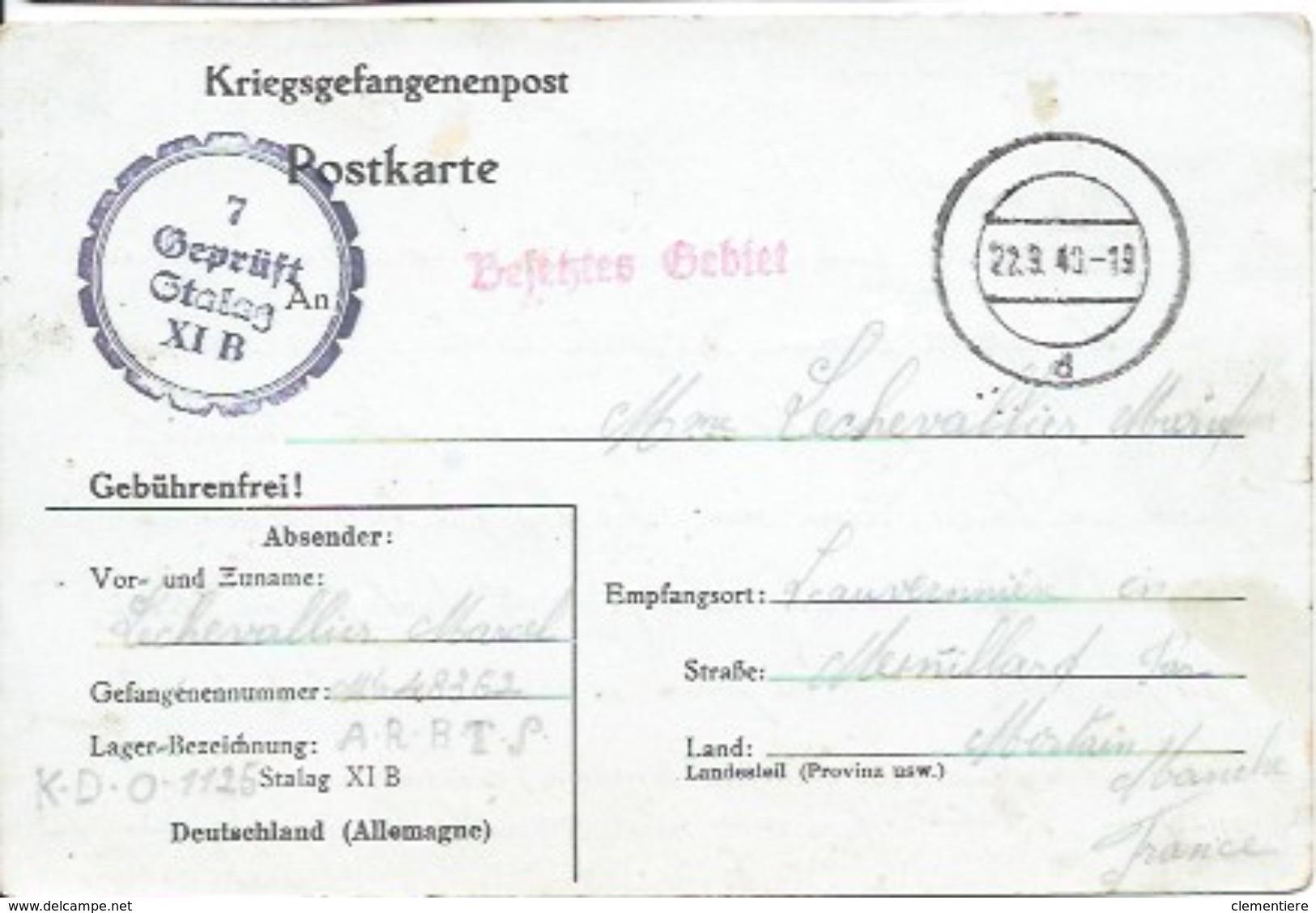 Carte Postale D'un Prisonnier Français Du Stalag XI B Pour Ménillard Par Mortain - Lettres & Documents