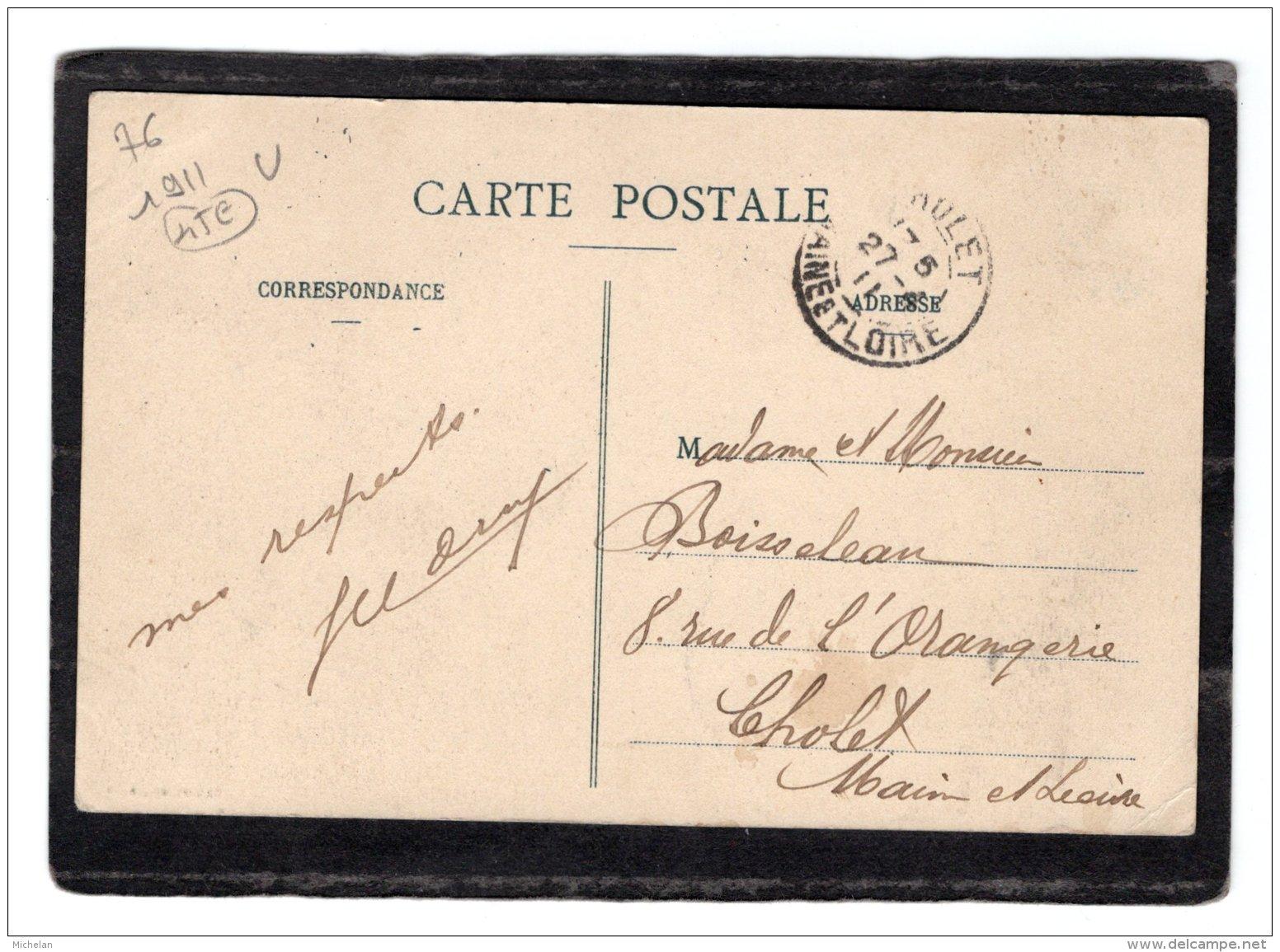 CPA   76   BIVILLE-SUR-MER---LA ROUTE D'EU A DIEPPE+UNE CPA DONNEE ROUTE D'EU TROUEE---1911 - Frankrijk