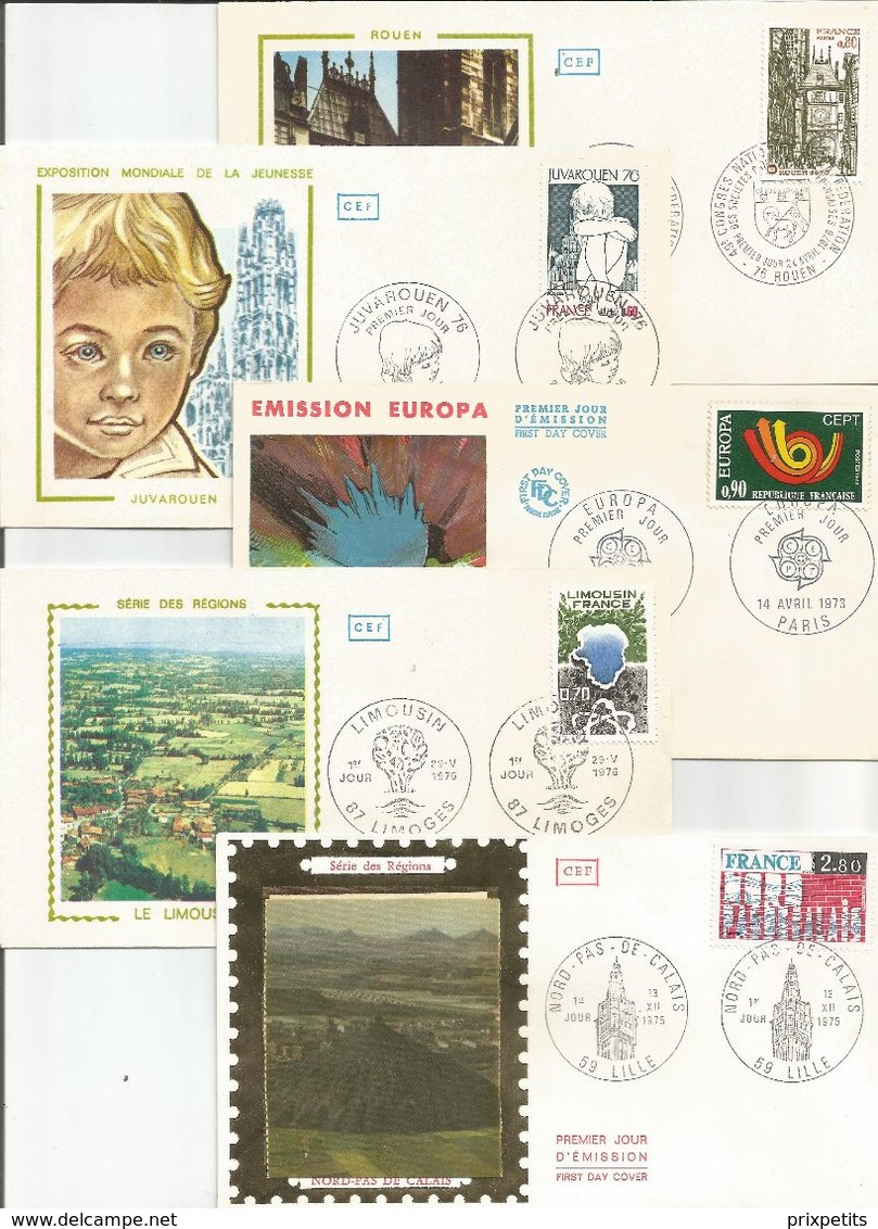 FRANCE LOT 5 ENVELOPPES 1 ER JOUR - 1970-1979