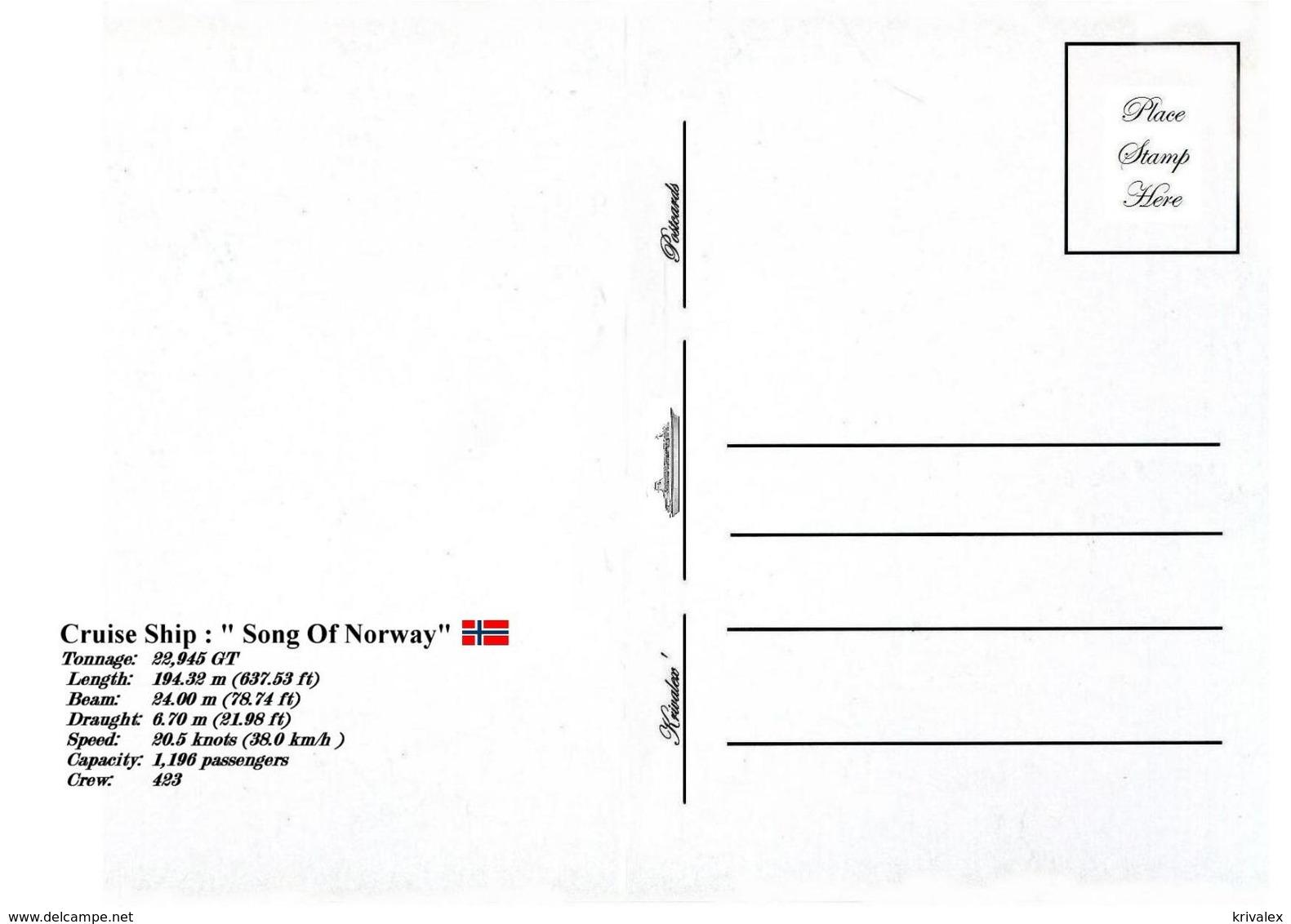 "Ship Postcards - Passenger   Ship : ""Song Of Norway   ""     Read Description - Schiffe"