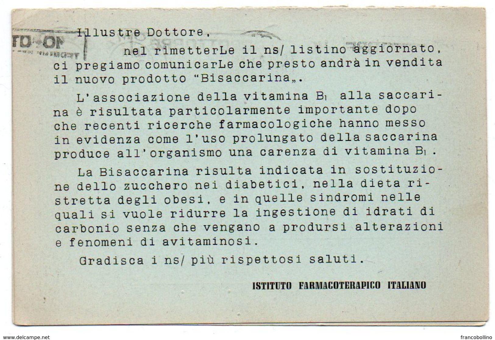 DEAR DOCTOR TYPE PUBL. ISTITUTO FARMACOTERAPICO ITALIANO / BISACCARINA / PRICE LIST - Salute