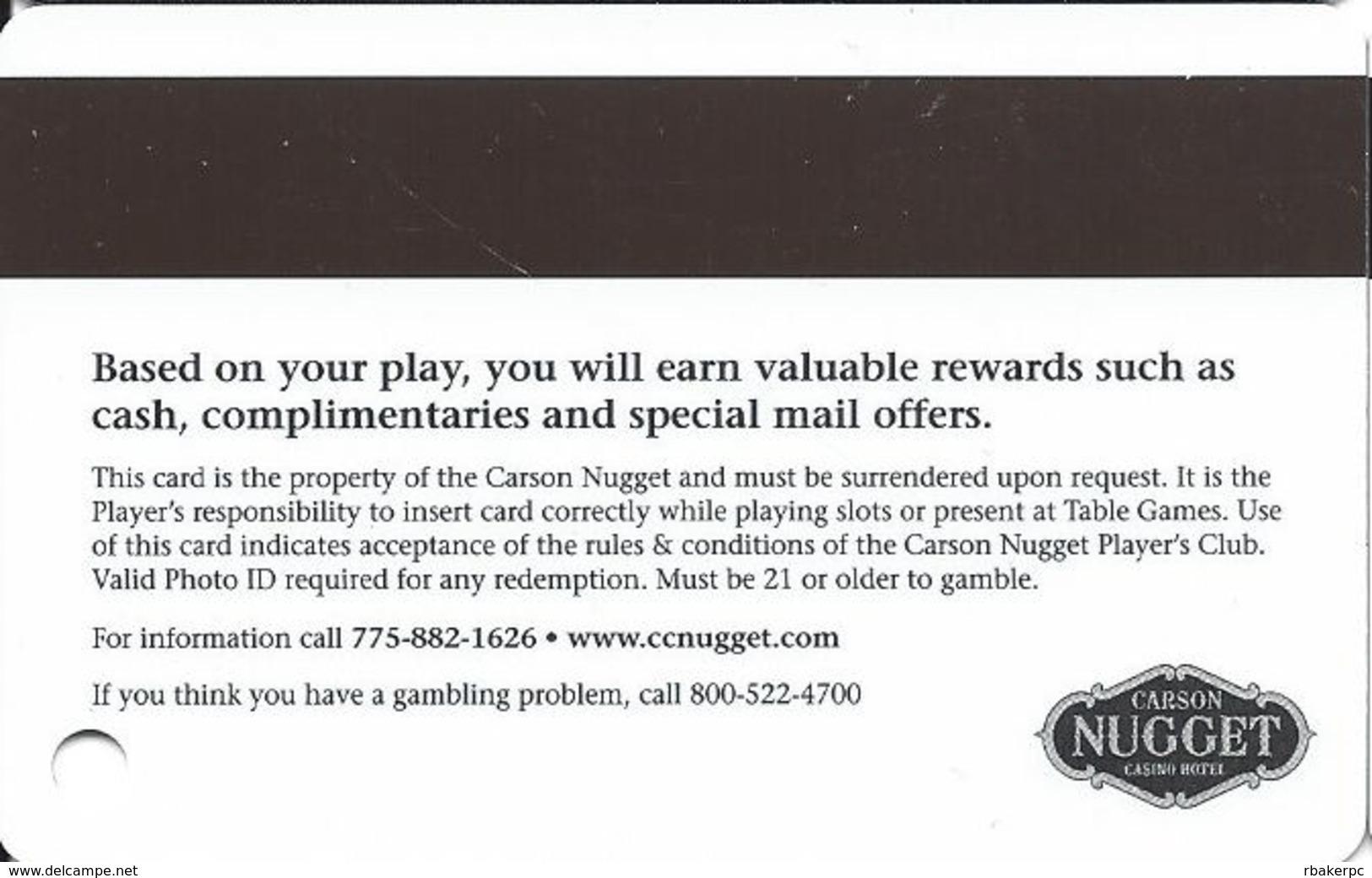 Carson Nugget Casino - Carson City, NV - Slot Card - Casino Cards