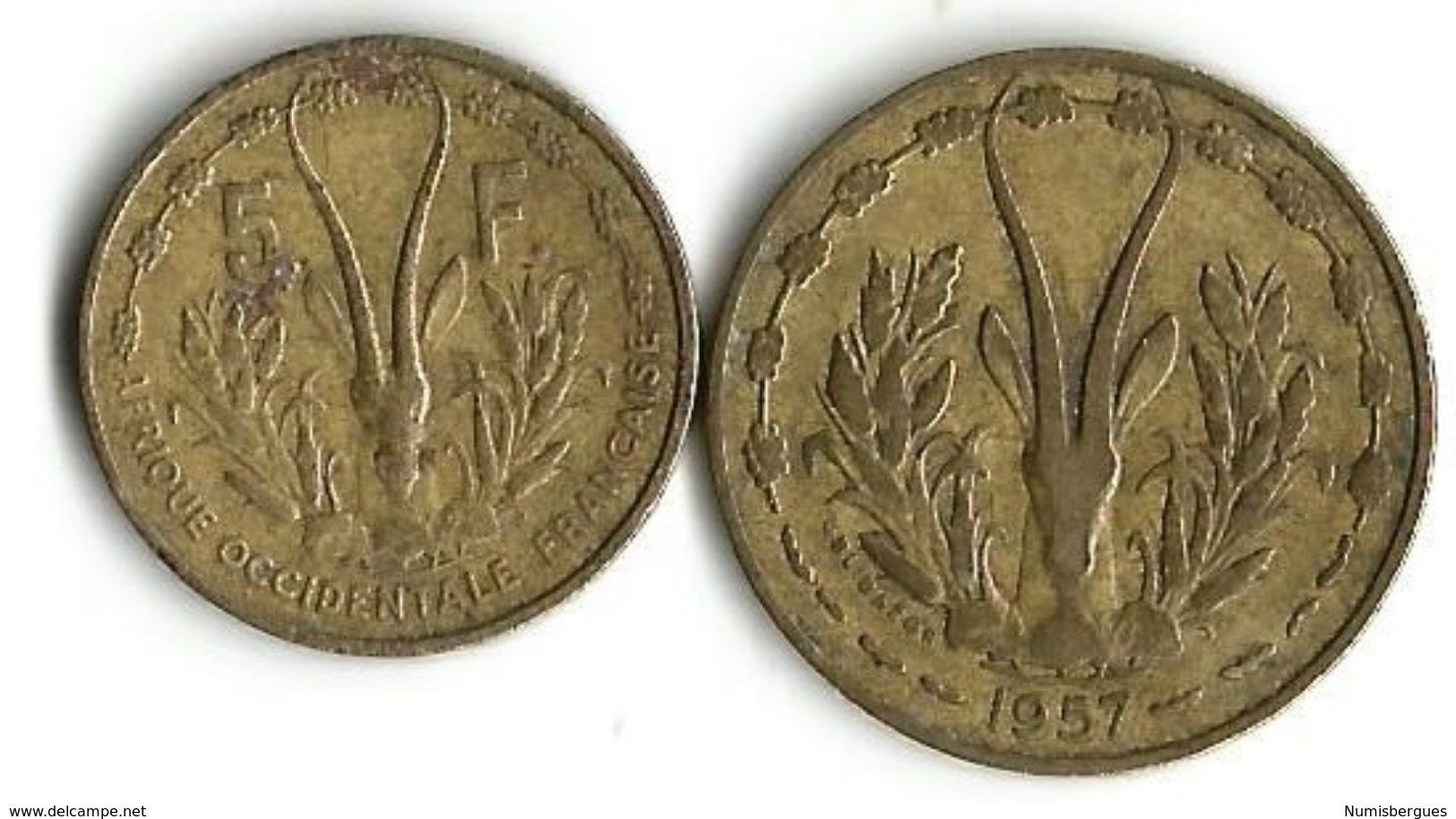 Lot 2  Pièces De Monnaie - 5 Et 10 Francs - Togo