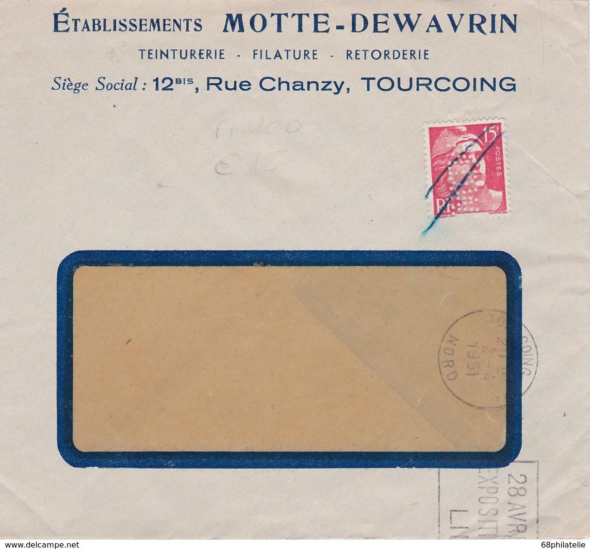 FRANCE 1951 LETTRE DE TOURCOING   PERFORE - Perforés