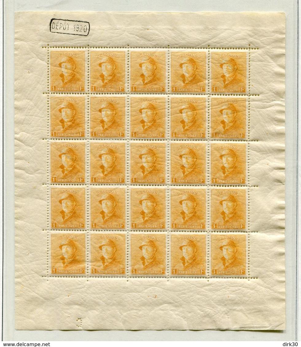 Belgie 1918 175  F175 ** MNH Roi Casque Koning Met Helm Volledig Vel Postfris Plaatnummer 3 DEPOT 1920 OCB 3450 - Feuillets