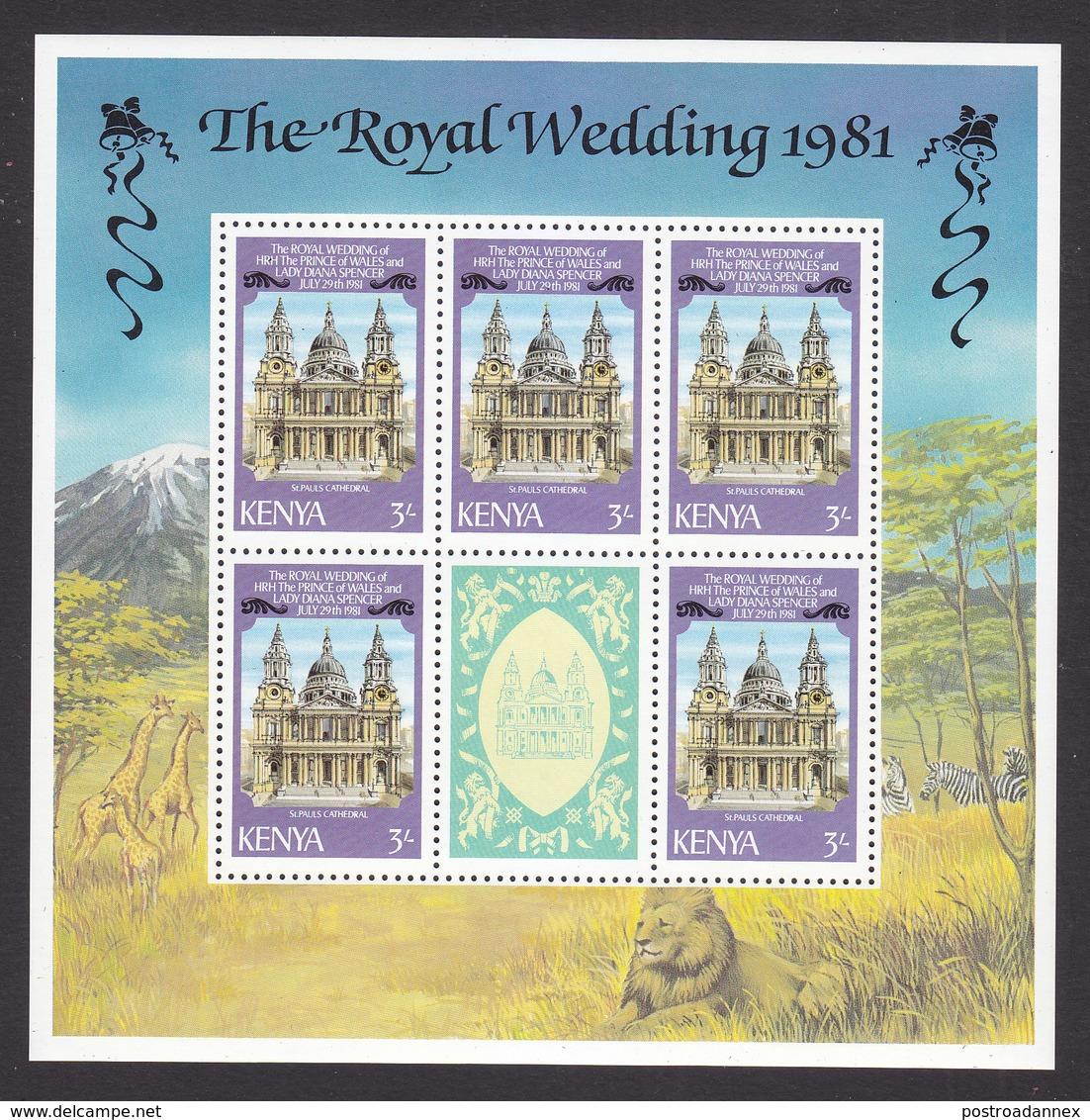 Kenya, Scott #195 Sheet, Mint Never Hinged, Royal Wedding, Issued 1981 - Kenya (1963-...)