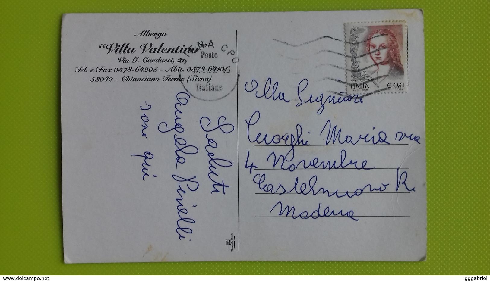 """Cartolina CHIANCIANO TERME - SI - Viaggiata - Postcard - Albergo """"Villa Valentino"""" - Siena"""
