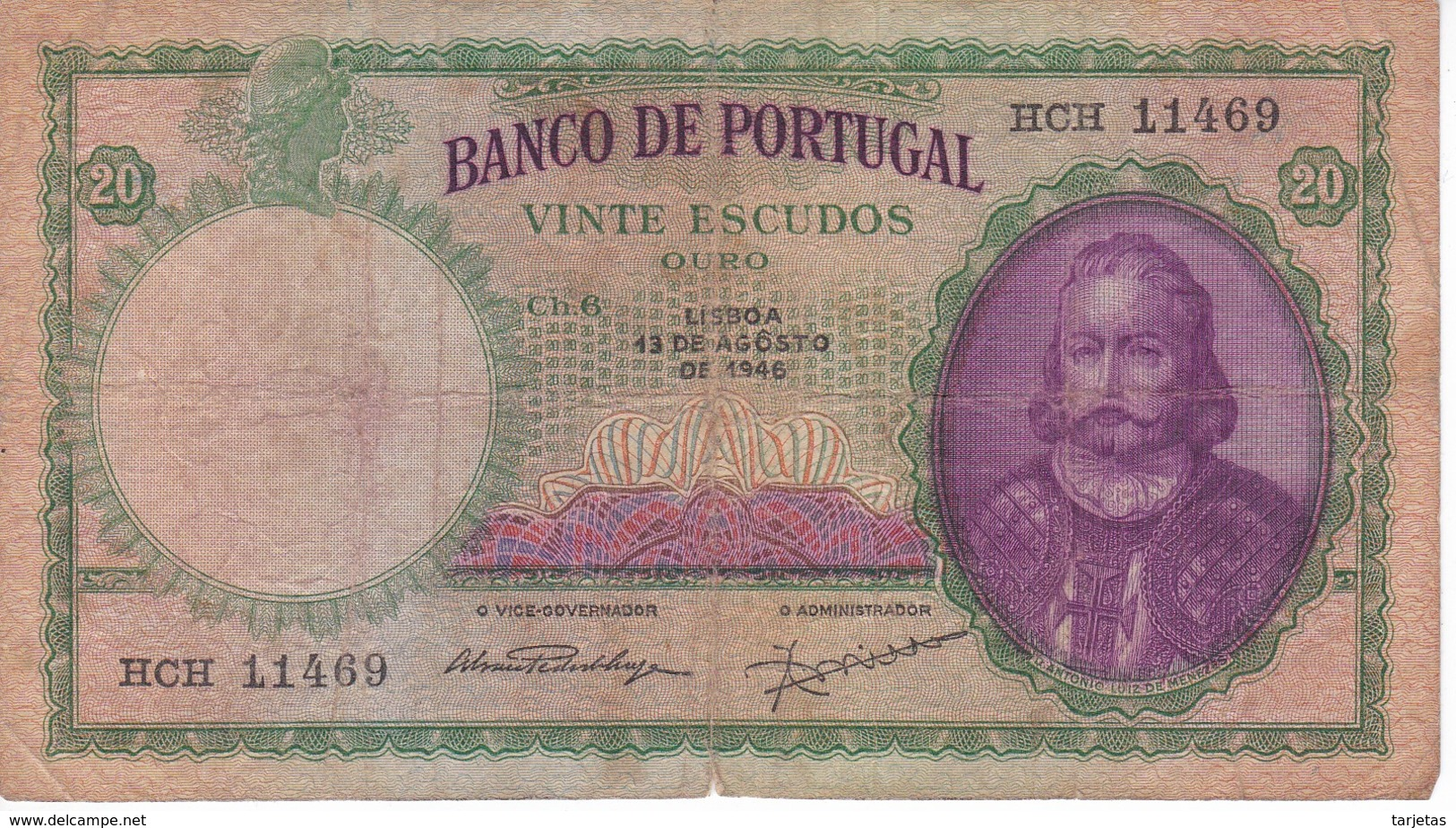 BILLETE DE PORTUGAL DE 20 ESCUDOS DEL AÑO 1946  (BANKNOTE) - Portugal