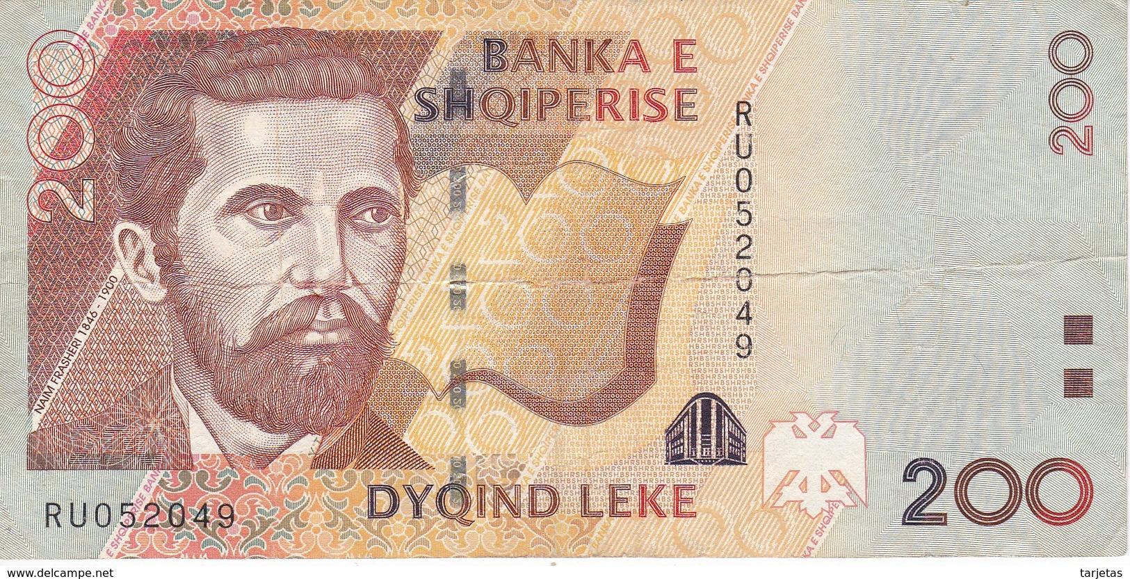 BILLETE DE ALBANIA DE 200 LEKE DEL AÑO 2012  (BANKNOTE) - Albania