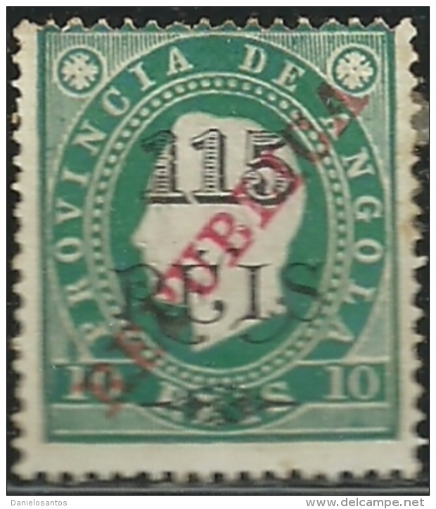 Angola 1915 Provisional Issue 1902 Overprinted REPUBLICA In Carmine A2 King Luiz Mint Hinge Mark - Celebrità