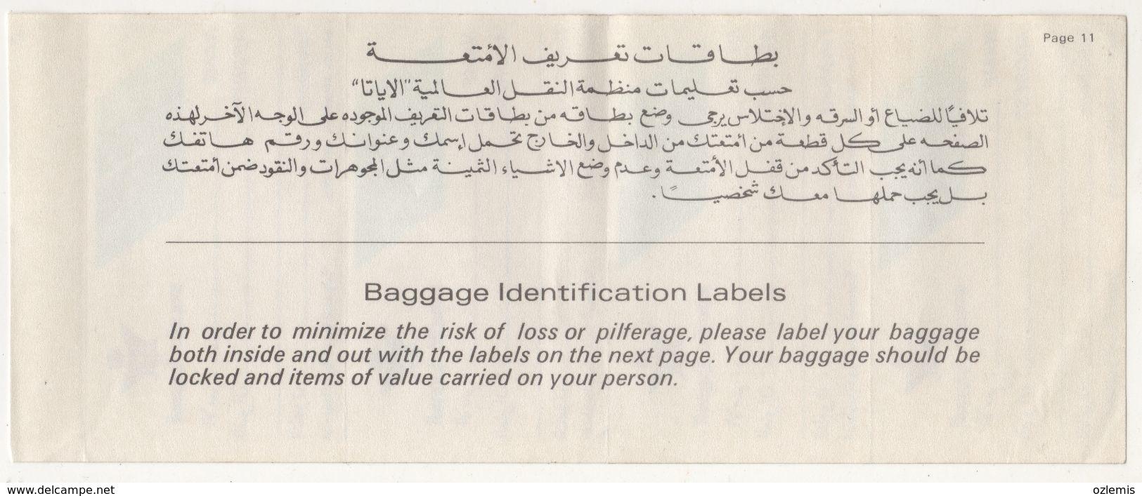 SAUDIA ARABIAN  AIRLINES BAGGAGE LABELS - Étiquettes à Bagages