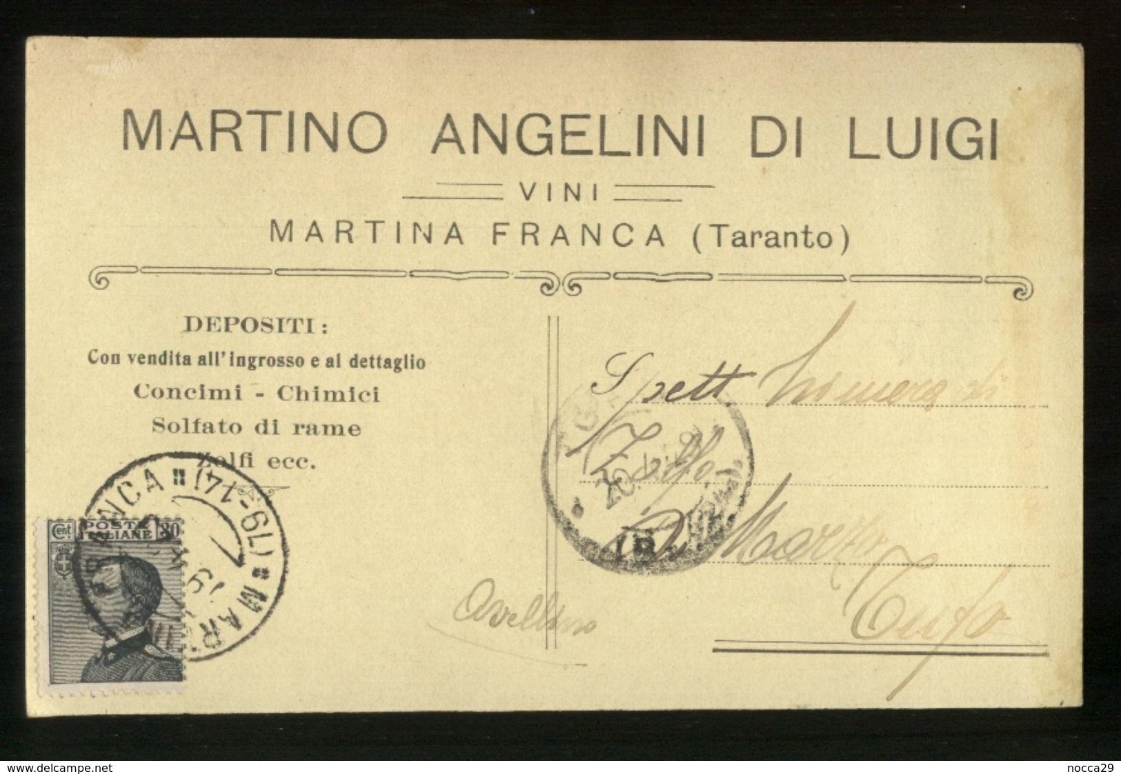 MARTINA FRANCA - TARANTO  - 1929 - CARTOLINA COMMERCIALE - MARTINO ANGELINI -  VINI - Negozi