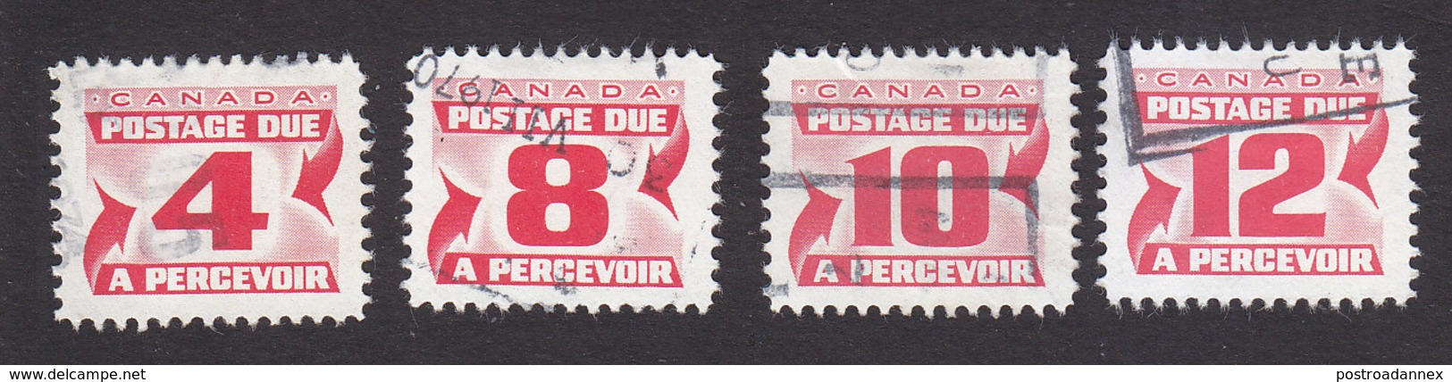 Canada, Scott #J31, J34-J36, Used, Postage Due, Issued 1969 - Port Dû (Taxe)