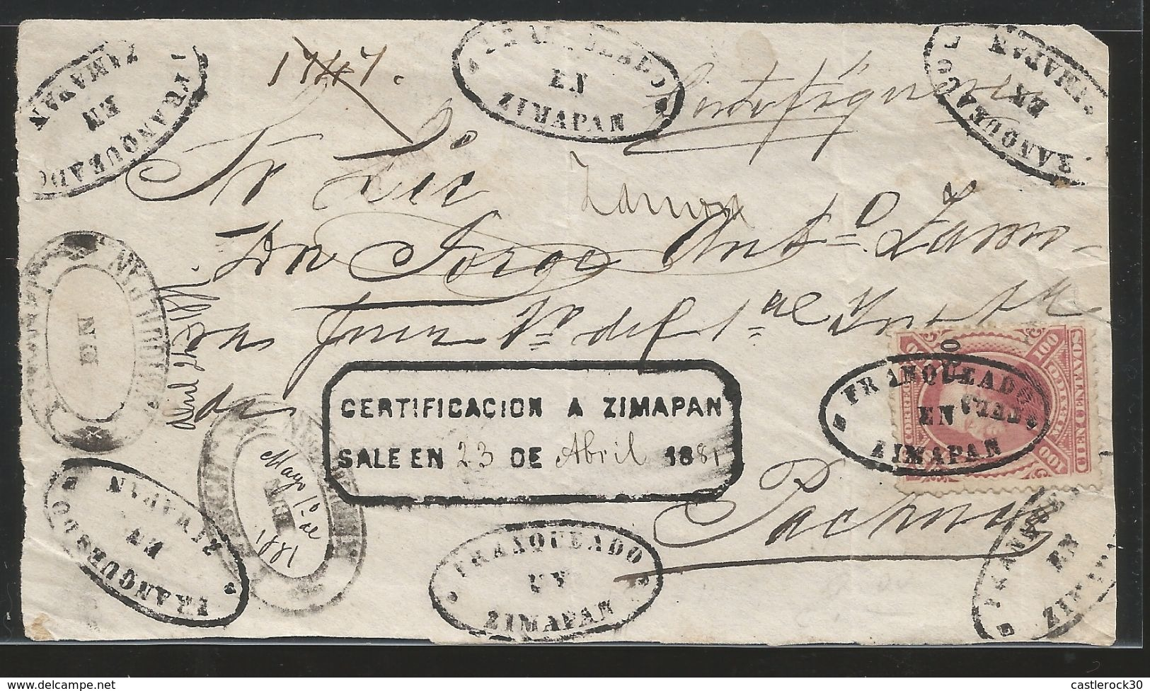 J) 1874 MEXICO, 100 CENTS CARMINE, FRONT OF LETTER, TULA, CONS 7-80 NUMERALS, CLOSE AT TOP, TIED BY BLOD ZIMPAN OVAL HAN - Mexico