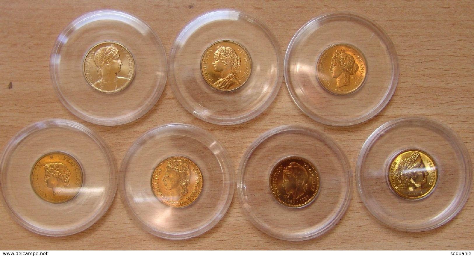 Lot De 7 Médailles Thème Des 20 Francs MARIANNE 1982 à 1988 Bronze Florentin - Professionnels / De Société