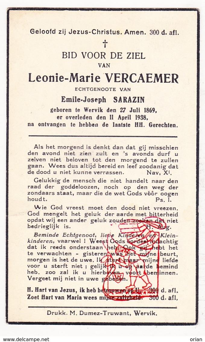 DP Leonie M. Vercaemer ° Wervik Wervicq 1869 † 1938 X Emile J. Sarazin - Imágenes Religiosas
