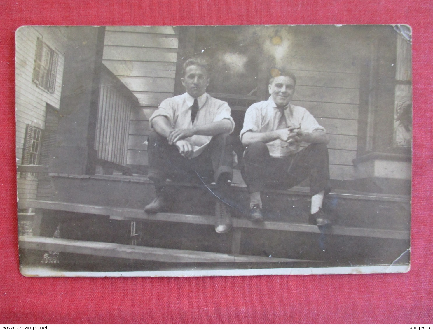 RPPC 2 Men Dressed With Ties On Porch - Ref 2911 - Fashion