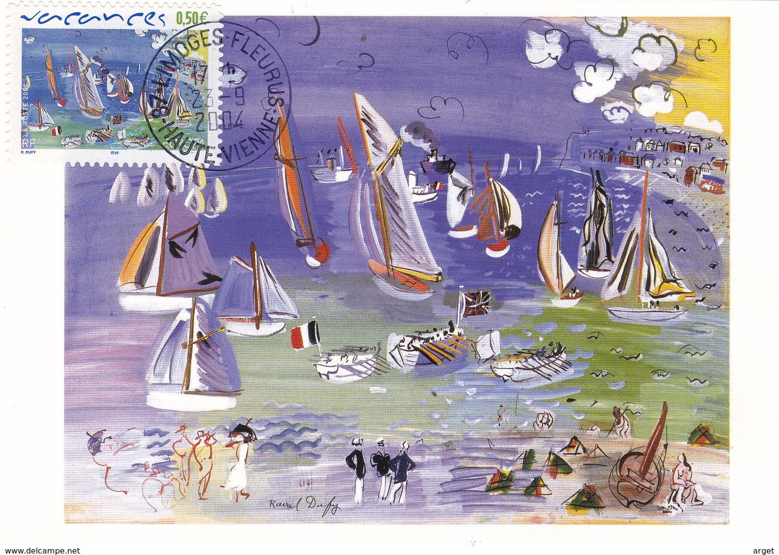 Carte-Maximum FRANCE N° Yvert 3668 (Raoul DUFY) Obl Sp Limoges-Fleurus (Ed Castelet - Tableau Au Musée De Limoges) - 2000-09