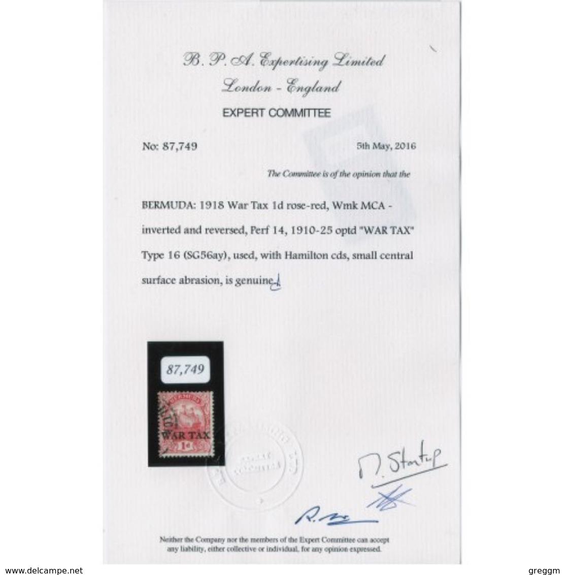 Bermuda 1918 War Tax SG No 56ay 1d Rose Red Inverted And Reversed Watermark. - Bermuda