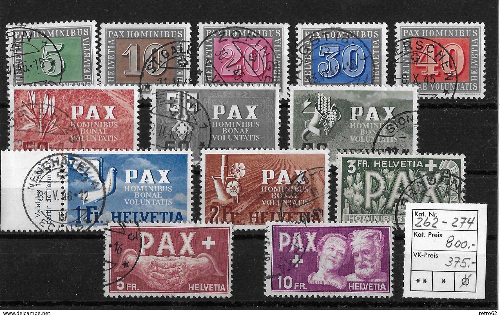 1945 GEDENKAUSGABE ZUM WAFFENSTILLSTAND (PAX) → Kompl. Satz  ►SBK-262-274◄ - Suisse