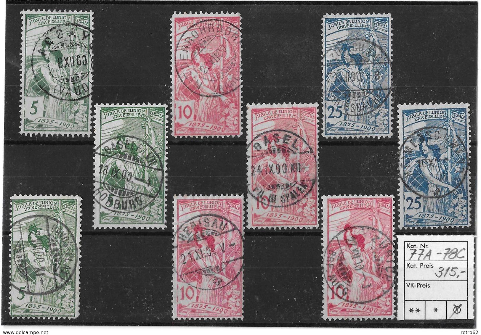 1900  2. Juli, 25 Jahre Weltpostverein / Jubilé De L'U.P.U. Mit ZT.guten Stempel ►SBK-77A-78C◄ - 1882-1906 Coat Of Arms, Standing Helvetia & UPU