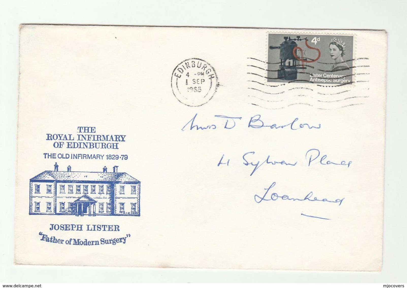 1965 ROYAL INFIRMARY EDINBURGH GB FDC Joseph LISTER Stamps Medicine Health Cover - FDC