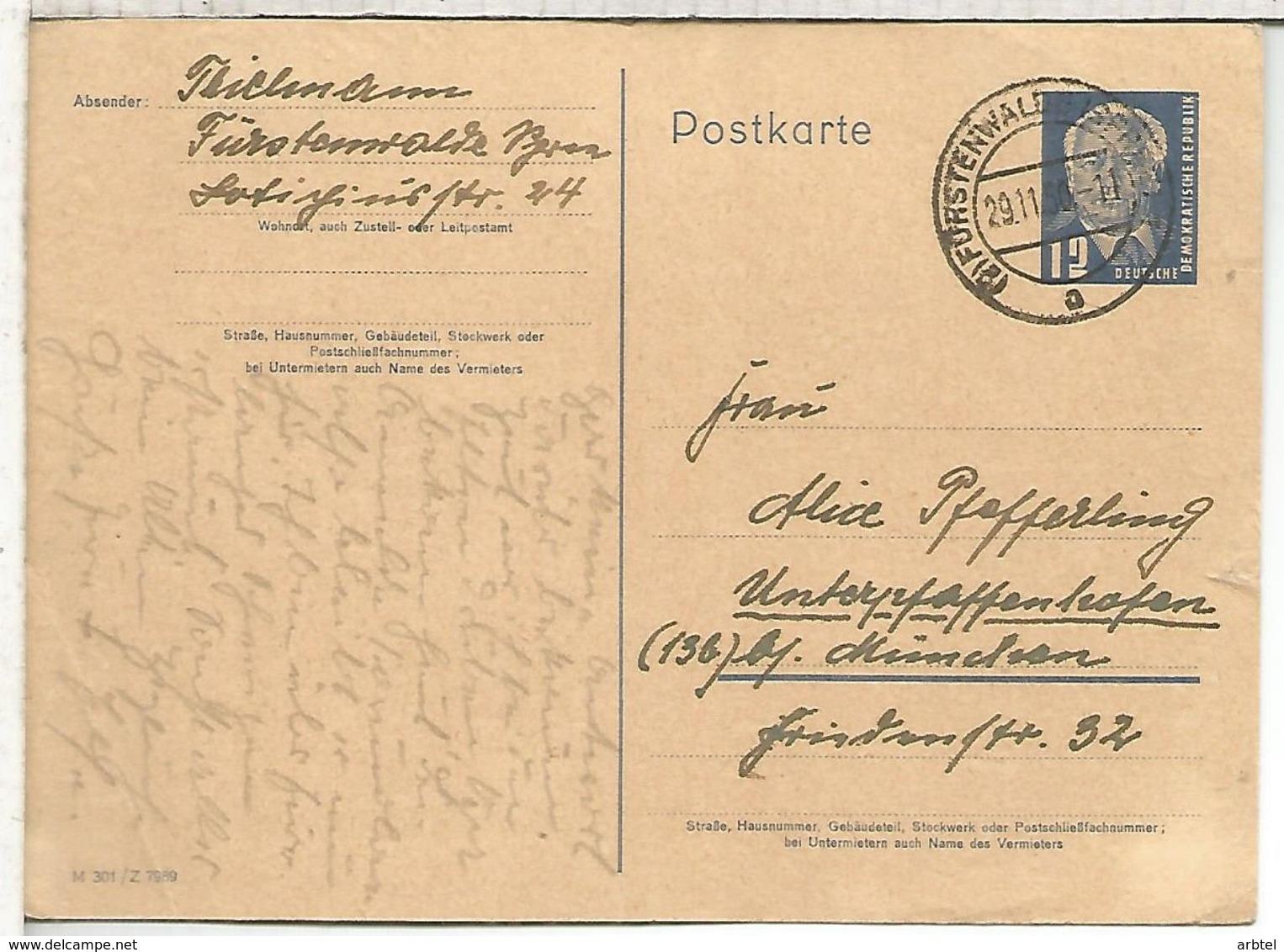 ALEMANIA DDR ENTERO MAT FÜRSTENWALD - Postales - Usados