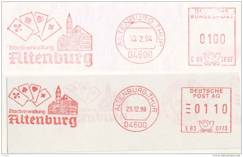 728  Jeu De Cartes: 2 Ema D'Allemagne, 1994-99.  Playing Card Meter Stamps From Altenburg, Germany - Spiele