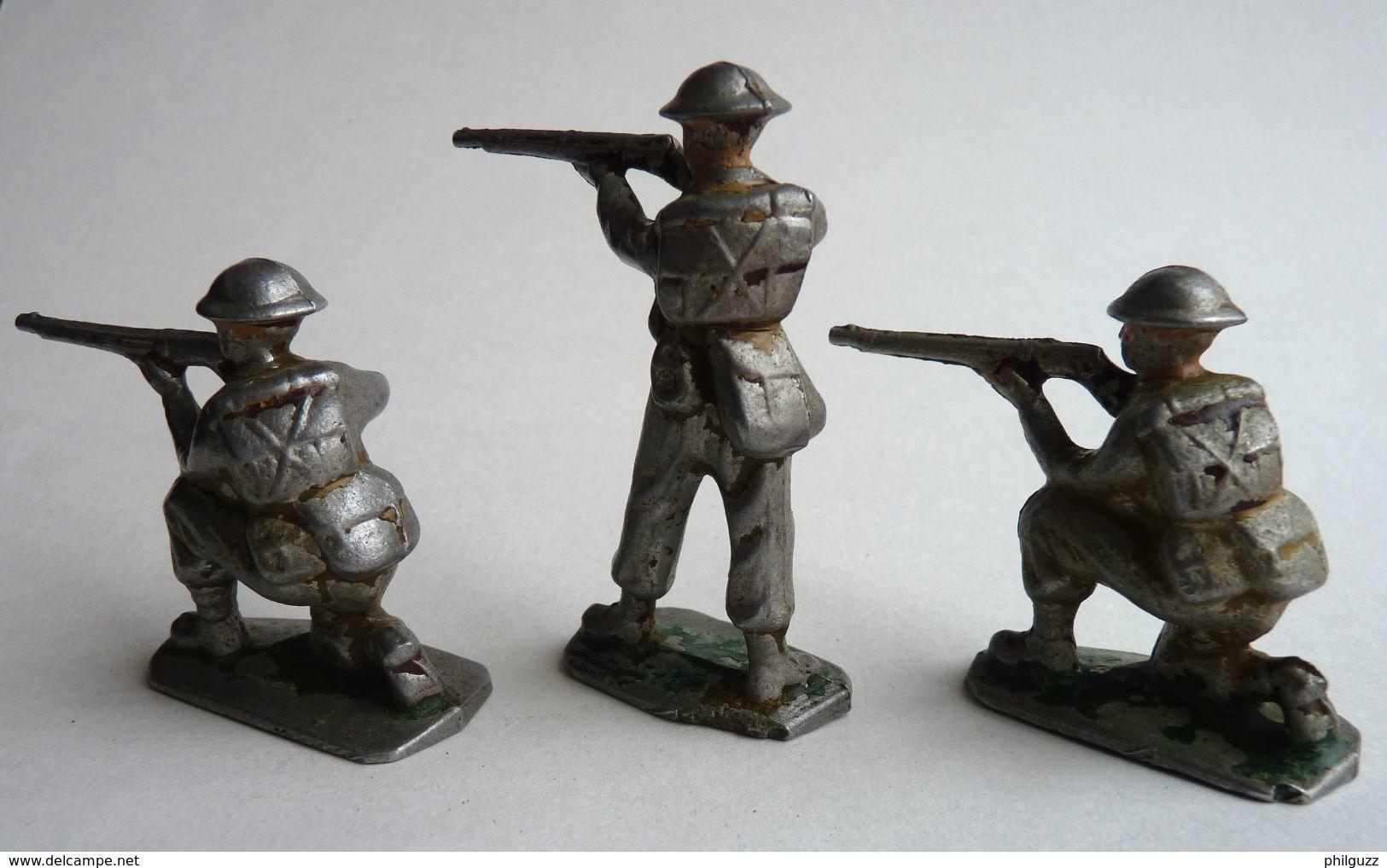 FIGURINE QUIRALU 3 SOLDATS ANGLAIS TIREUR FUSIL SOLDAT - Quiralu