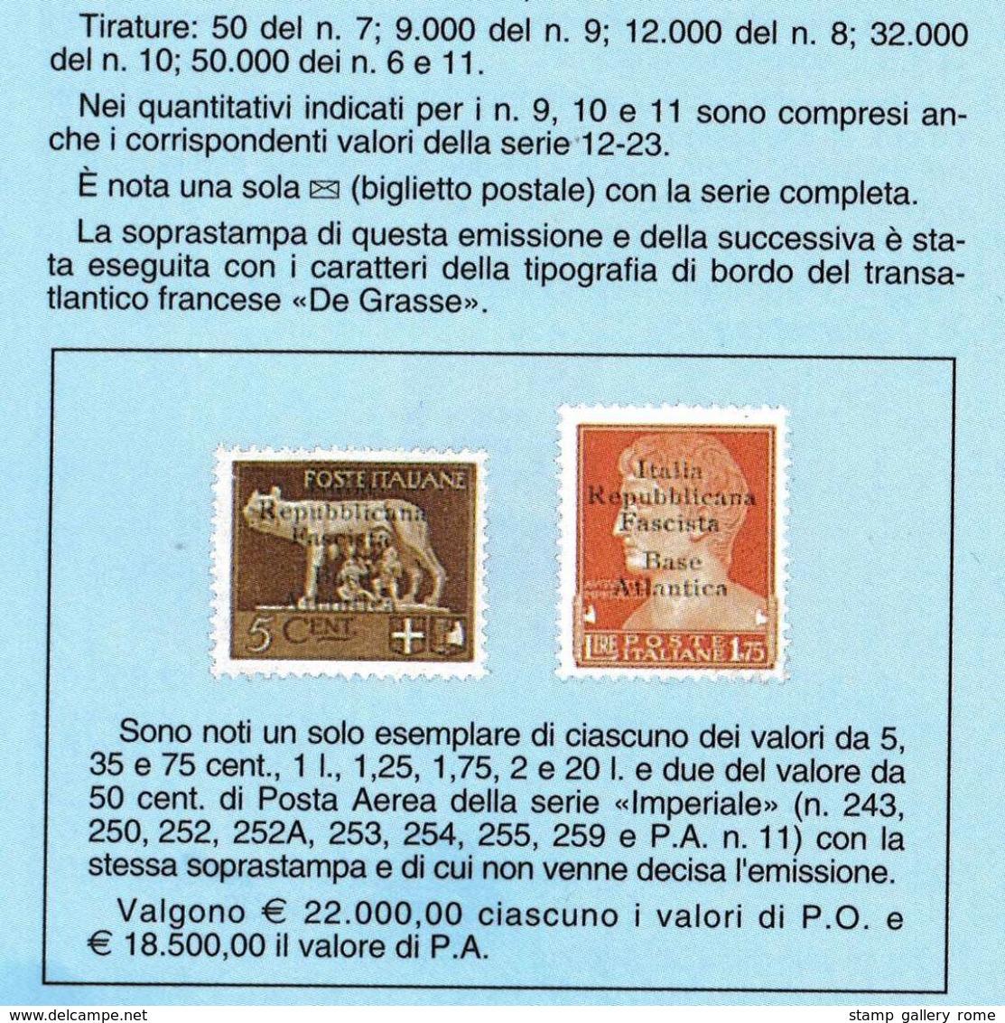 Repubblica Sociale BASE ATLANTICA  ANNO 1943 - POSTA MILITARE LOTTO ORIGINALE RARISSIMO INTERESSANTE DA CERTIFICARE - 1944-45 République Sociale