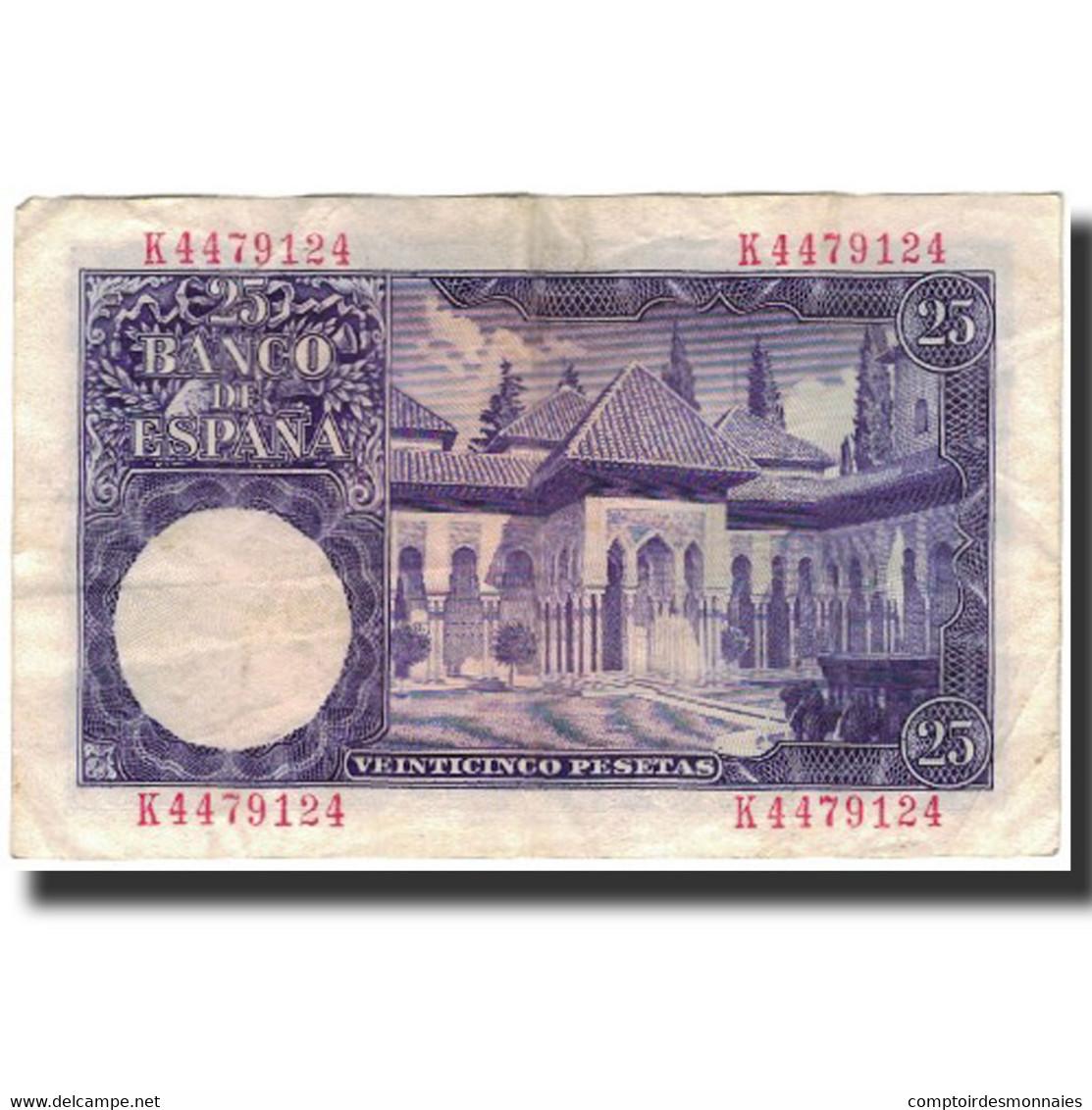 Billet, Espagne, 25 Pesetas, 1954-07-22, KM:147a, TB+ - [ 3] 1936-1975 : Regime Di Franco