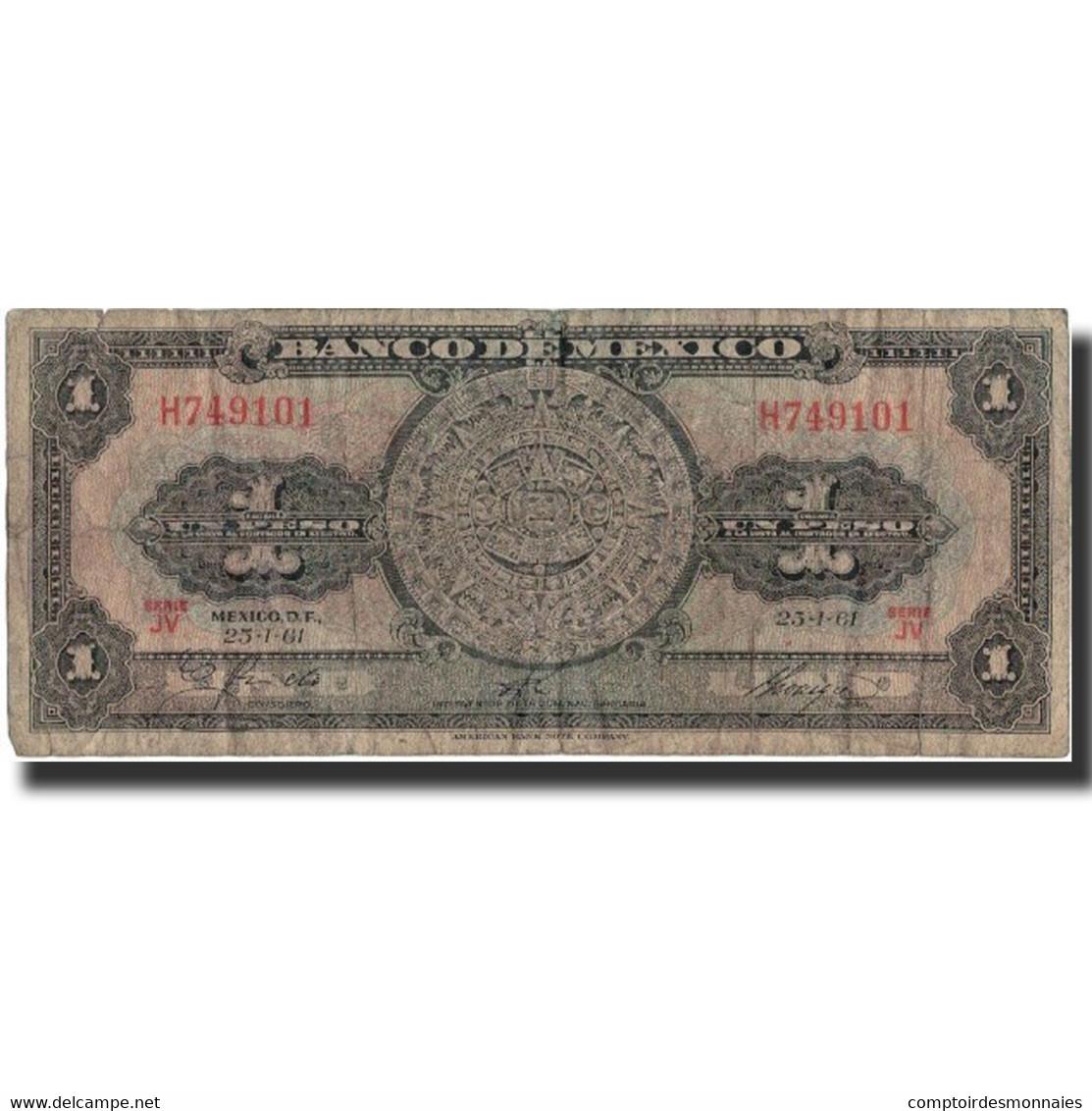 Billet, Mexique, 1 Peso, 1961, 1961-01-25, KM:59g, TB - Mexique
