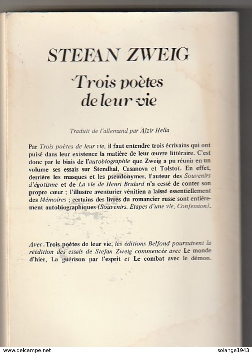 STEPHAN ZWEIG  Trois Poetes De Leurs Vie TENDHAL CASANOVA TOLSTOI  308 Pages 430GR  (Année 1983  : - Etat: TB) - Poésie