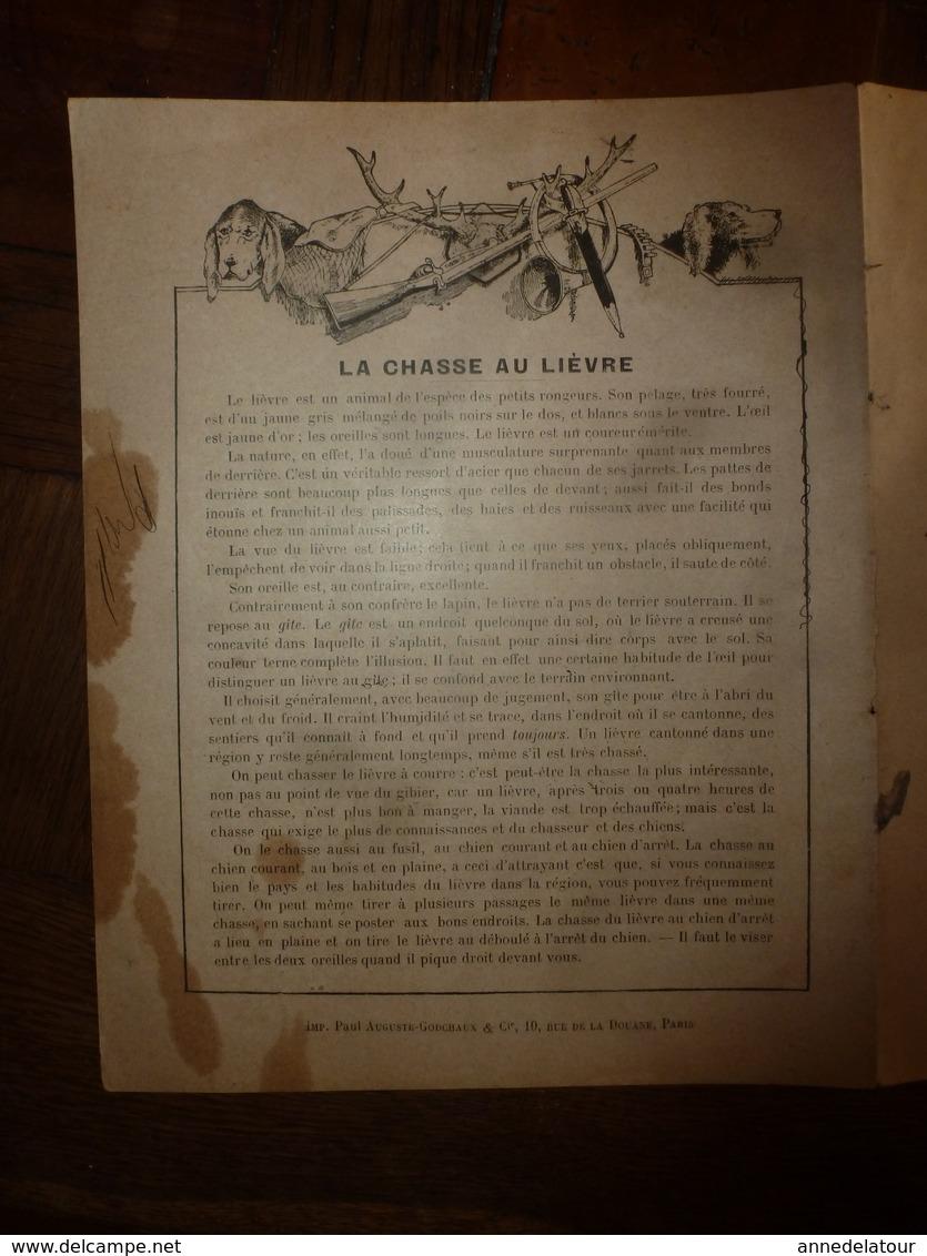 1890  Protège-cahier Illustré Par Paul De Semant,de La Collection Godchaux : LA CHASSE AU LIEVRE, Imp. Auguste Godchaux - Protège-cahiers